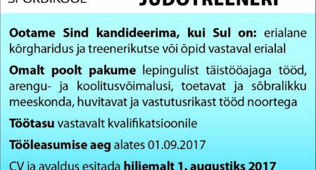 Viljandi Spordikool otsib judotreenerit!