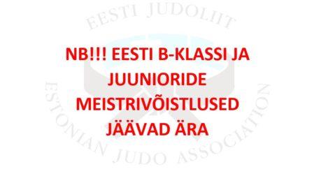 Eesti Juunioride ja B-kl MV jäävad ära
